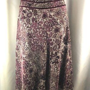 Ann Taylor Maroon Cream Skirt Sz 12 Velvet Trim